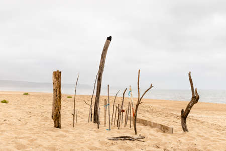 Nazare, Portugal - A collection of drifwood plade upright on the beach