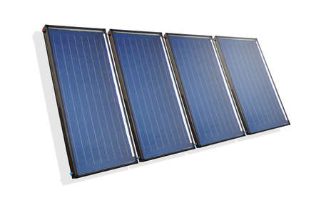 Isolated solar water heater collectors Stock Photo