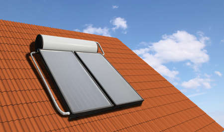 Solar water heater at the roof