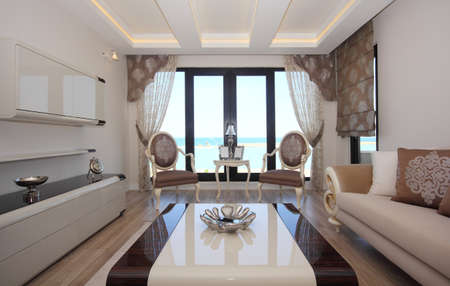 Elegant home with sea view Stock Photo