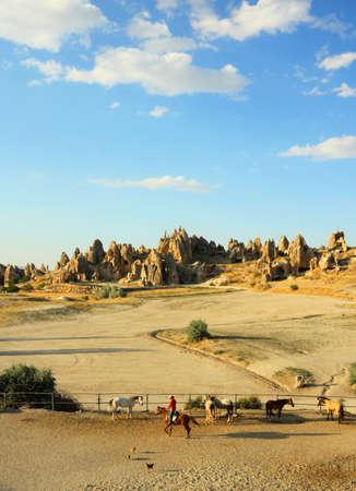 Cowboy at the Cappadocia Stock Photo