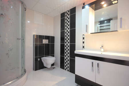 Black White Bathroom Stock Photo - 21064148
