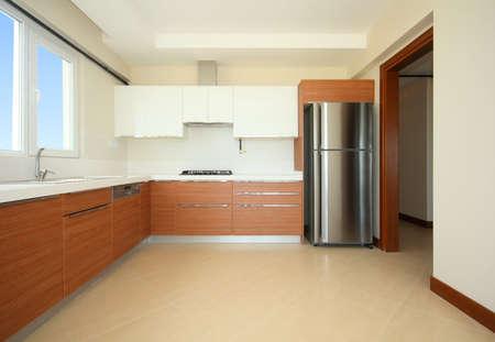 refrigerator kitchen: Empty new kitchen