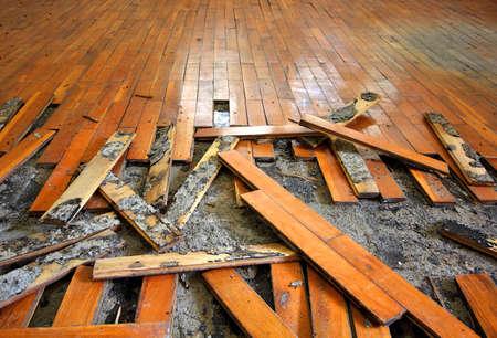 古い寄せ木張り 写真素材
