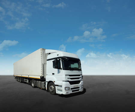 White Cargo Truck Stock Photo