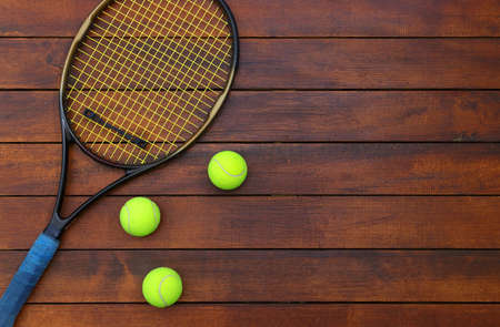 Tennis Background with Wooden Table Stock Photo - 109516108