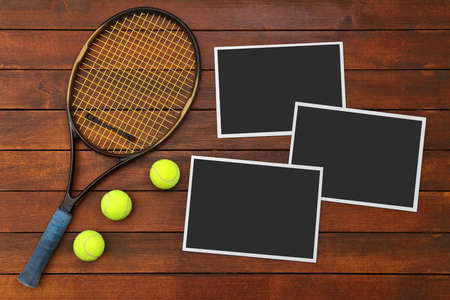 Wooden Tennis Background with Empty Photo Frames