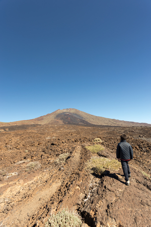 vulcanology: A child looking to the Pico Viejo Volcano in Teide National Park in Tenerife, Canary Islands