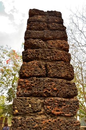 Photo of the ruin pillar at  Si Satchanalai Historical Park, Sukhothai ,Thailand  Stock Photo