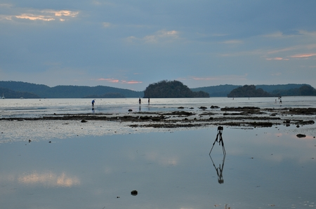 camera on tripod at Ao nang beach. This photo taken at Krabi, Thailand. photo