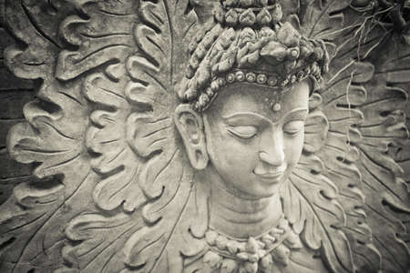 monocrome: Buddha face Stock Photo