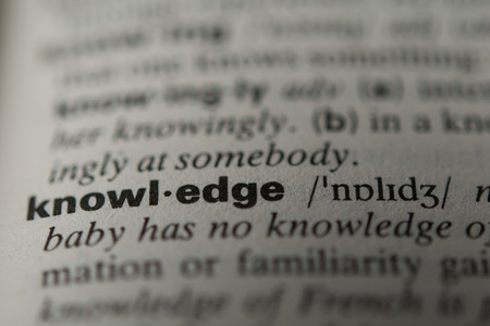 comprehension: Definition of the word knowledge, close up