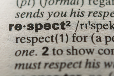 comprehension: Definition of the word respect, close up