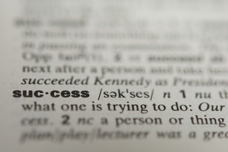 Definition of the word success, close up Standard-Bild