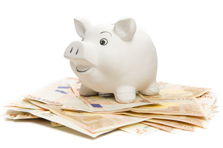 Happy piggy bank on euro banknotes, isolated on white photo