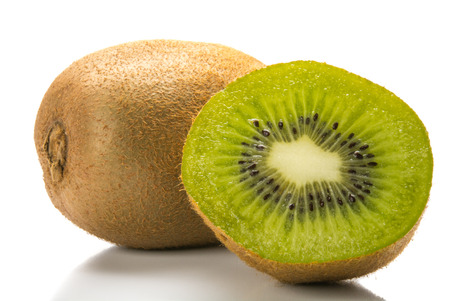 sectioned: Fresh kiwi fruit isolated on white background