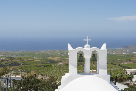 belfry: White church belfry, at Pyrgos village, Santorini Island, Greece