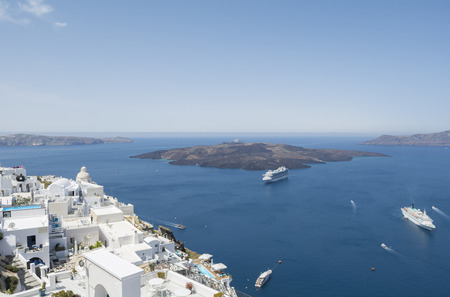 fira: Beautiful travel destination, Fira town, Santorini island,  Greece. Stock Photo