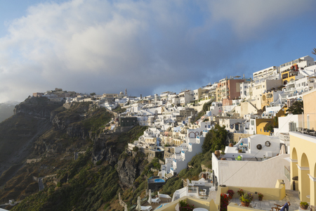 fira: Panoramic view of Fira, Santorini, Greece. Stock Photo