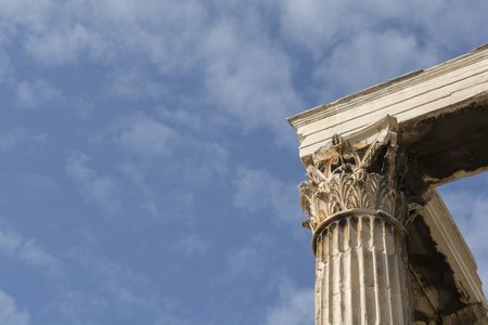 ancient architecture: Towering pillars of the Temple of Olympian Zeus, at Athens, Greece Stock Photo