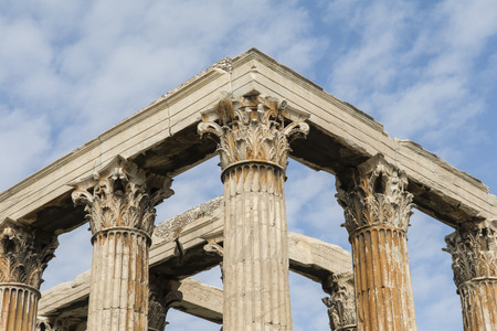 olympian: Towering pillars of the Temple of Olympian Zeus, at Athens, Greece Stock Photo