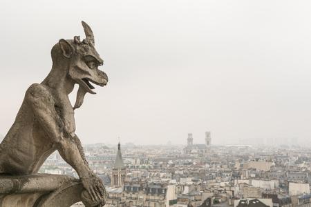 gargouille: Gargoyle sur paris � Notre-Dame sur une journ�e nuageuse