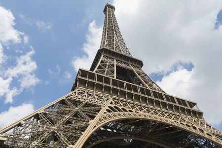 the view from below: Eiffel tower. Paris, France. View from below Stock Photo