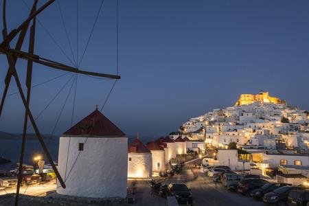 Chora in Astypalaia island at dusk, Greece