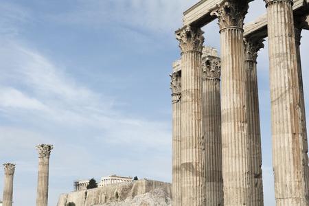 Towering pillars of the Temple of Olympian Zeus, at Athens, Greece Stock Photo