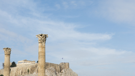 Towering pillars of the Temple of Olympian Zeus, at Athens, Greece Stock Photo