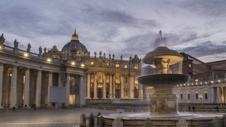 St peters square in Vatican city at dusk, Rome, Italy
