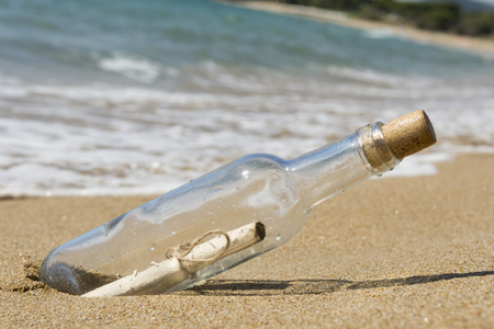 Message in a bottle, close up Stock Photo
