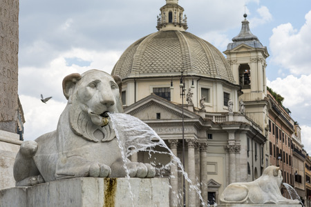 ancient lion: Lions fountain at Piazza del Popolo, Rome, Italy Stock Photo