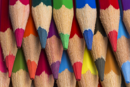 Colored pencils of various colors, close up Standard-Bild