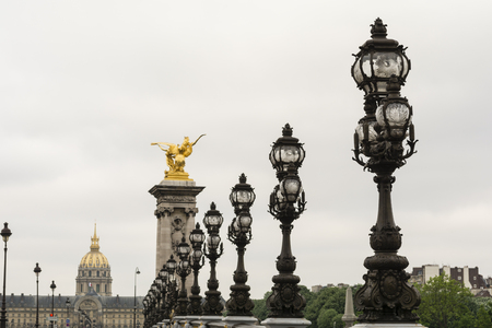 Pont Alexandre III bridge and invalides in the morning. Paris, France