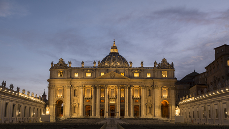 Facade of St. Peters Basilica at night, Vatican city