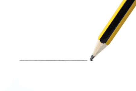Pencil drawing a straight line, isolated on white background