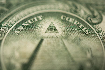 Eye of Providence or all-seeing eye sign, detail in the banknote of one dollar