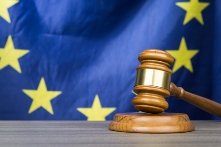 Court gavel with European Union flag in the background Reklamní fotografie