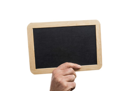Cropped hand holding a blank slate board with wooden frame, isolated on white background