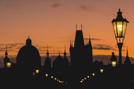 Silhouettes of towers and spires during sunrise in Prague, Czeck Republic