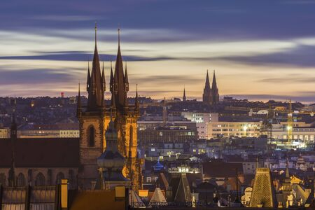 Prague cityscape at sunrise, Czech Republic Standard-Bild - 143288071