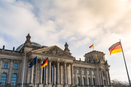 Facade of Reichstag building. Berlin, Germany