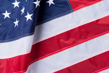 Waving flag of United States of America, close up Standard-Bild - 156469976