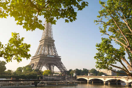 Eiffel Tower and river Seine at sunrise in Paris, France