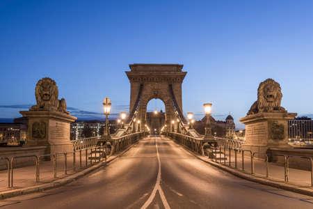 The Széchenyi Chain Bridge in Budapest, Hungary