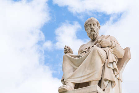 The statue of the ancient philosopher Plato in Athens, Greece Stock Photo