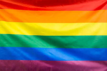 Full frame of waving rainbow flag Stock Photo