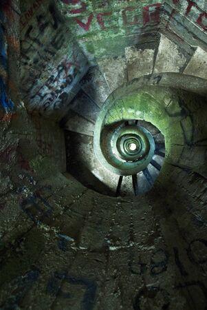 spiral stairway: green spiral stairway Stock Photo