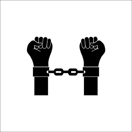 handcuffs: Hands in handcuffs.Vector icon.